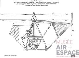 Hélicoptère Vuitton – Huber, première réalisation. Source : Centre de Documentation du musée de l'Air et de l'Espace. Revue Pégase.