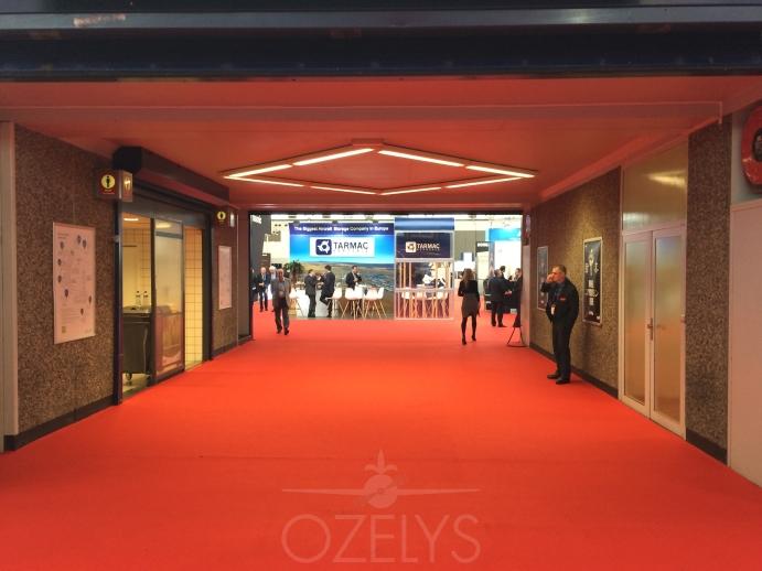 Le stand de Tarmac Aerosave, face à l'entrée principale, a bénéficié d'un excellent emplacement. © Ozelys